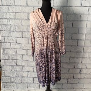Catherine Pink with Blue 3/4 Sleeve Dress
